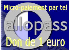 Micro-paiement par t�l�phone. Don de 1 euro � l'association Terre sacr�e